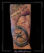 kompas kaart kampen tekst bovenarm
