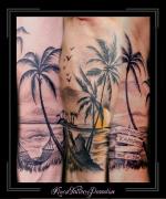 palmen,strand,zee,liefde,hangmat,jamaica,zon,onderarm,