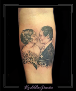 portret vader moeder trouwen onderarm