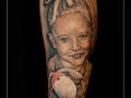 portret,dochter,meisje,knuffel,onderarm,