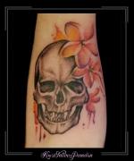 skull schedel bloemen onderarm watercolor