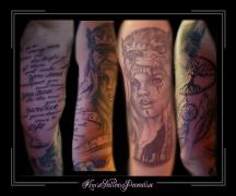 sleeve,tekst,muzieknoten,muziekbalk,wolf,gezicht,vrouw,dromenvanger,dreamcatcher,veren,kevensboom,