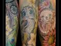 sleeve,uil,egel,pauwenveer,bloemen,dreamcatcher,dromenvanger,onderarm,