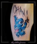 stitch euro disney tattoomachine bovenarm
