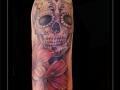 sugarskull skelet bloemen bovenarm