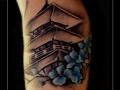 tempel bloesem onderarm japans