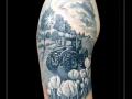 tractor bomen en tulpen