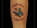 vlinder vingerafdruk tekst onderarm