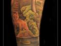 vos jachtarm water vissen bomen struiken bos onderarm