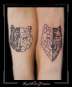 vrienden tijger wolf onderarm