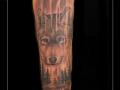 wolf roofdier bomen bos  onderarm