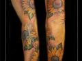 zonnebloemen,arm,kleur,