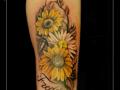 zonnebloemen,margriet,bloemen,takken,namen,onderarm,