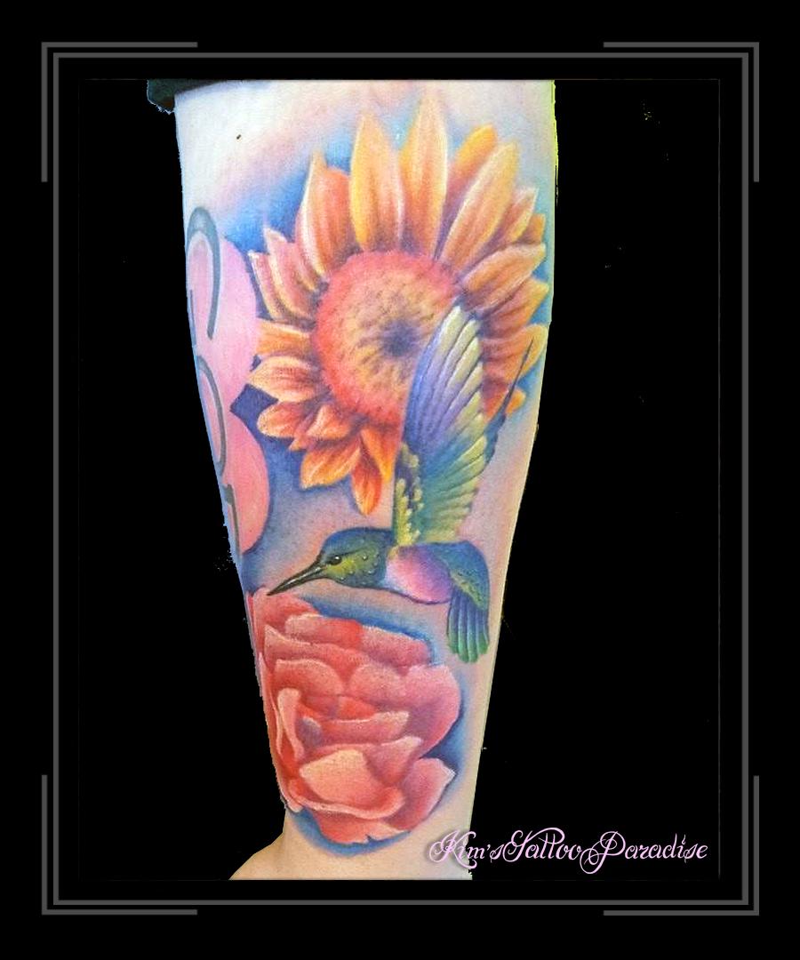 Kolibrie Zonnebloem Kim S Tattoo Paradise