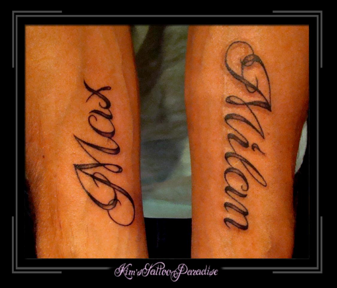 Voorbeelden tattoo naam kind Naam tattoo