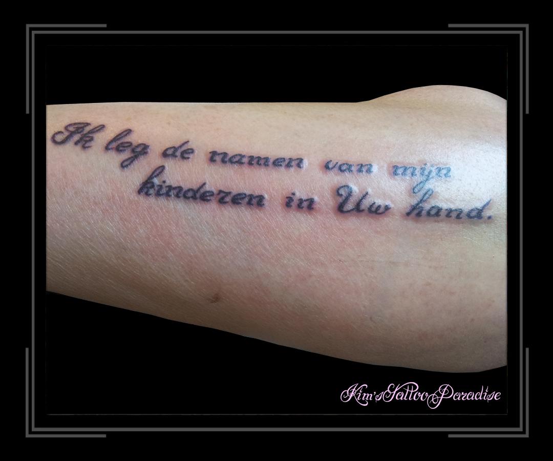 Tekst Ik Leg De Namen Kims Tattoo Paradise