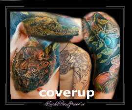 coverup,spin,tijger,slang,full color,kleur,tribal,