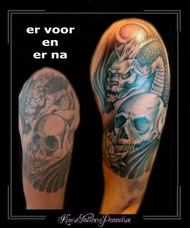 coverup,verfraaiing,skull,draak,bovenarm