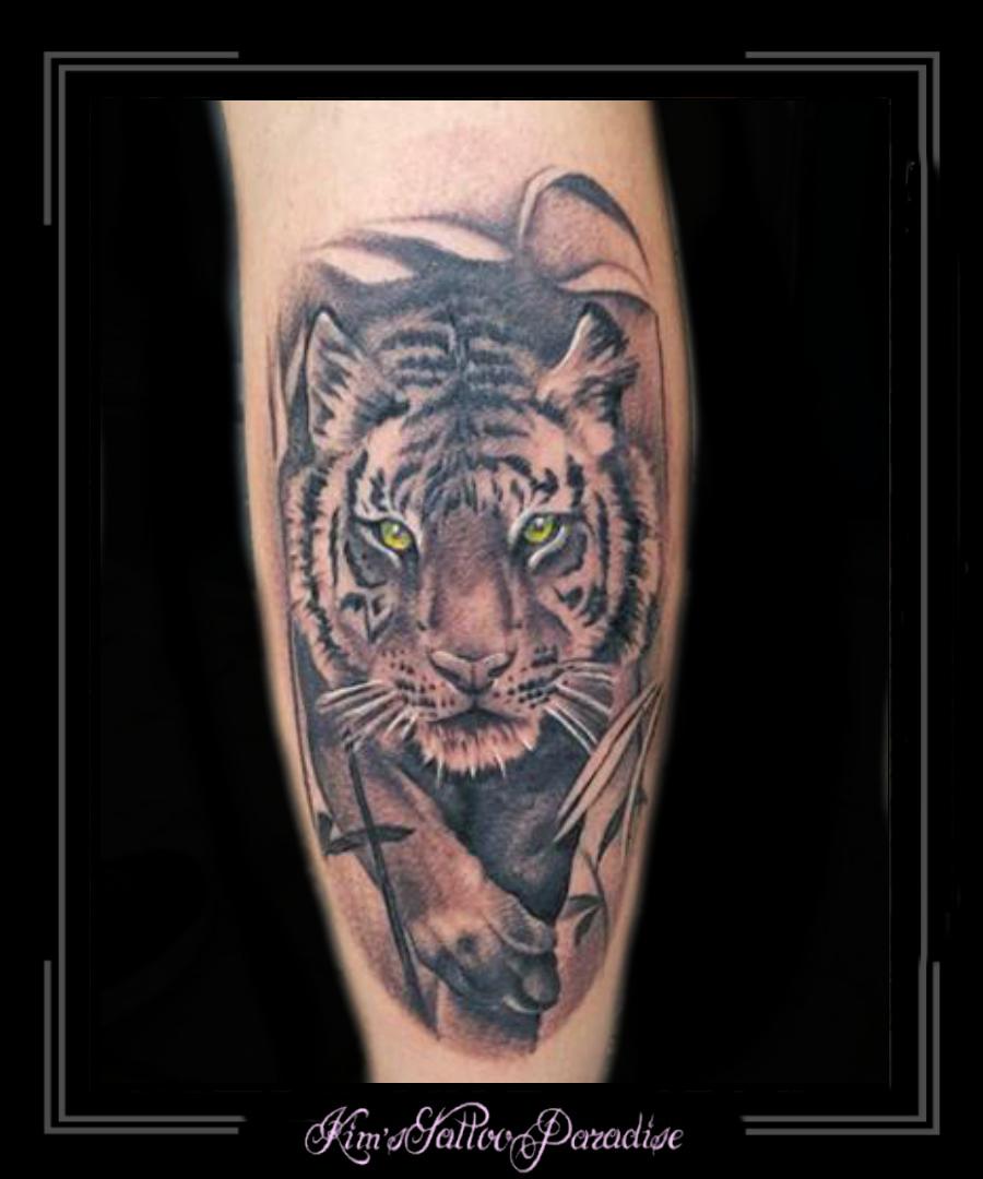 Tijger Roofdier Kuit Kims Tattoo Paradise