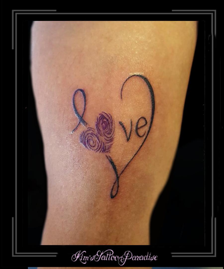 Vingerafdrukharttekstarm Kims Tattoo Paradise